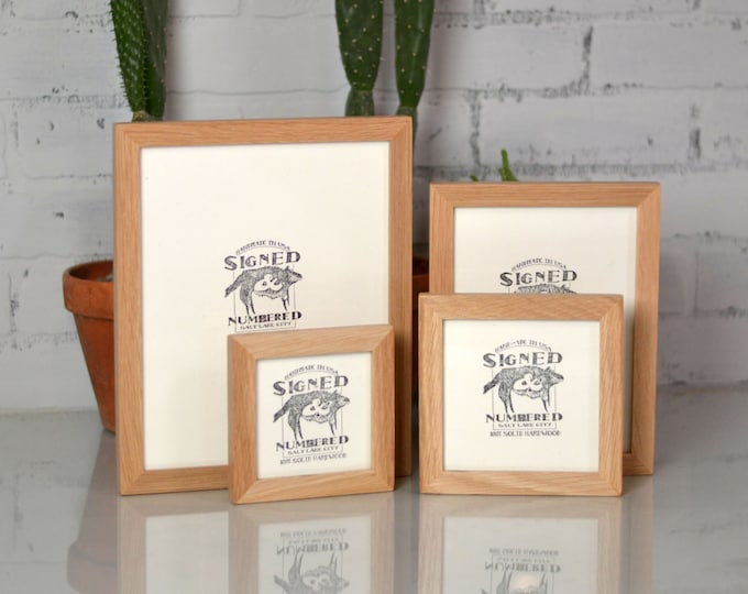 Signed and Numbered BASIC Picture Frame - Built from Natural OAK - Choose Frame Size: 4x4 - 4x6 - 5x5 - 6x6 - 5x7 - 6x8 - 7x7 - 8x8 - 8x10