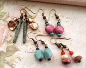 4 Pairs Bead Earrings Stone Earrings Pink Orange Amazonite Keishi Pearls African Bauxite