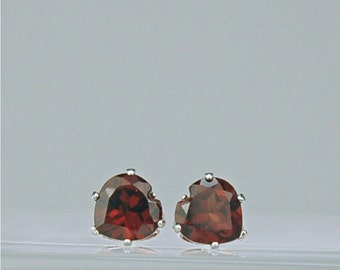 Garnet Heart Stud Earrings Sterling Silver 6x6mm 2.20ctw Natural Untreated