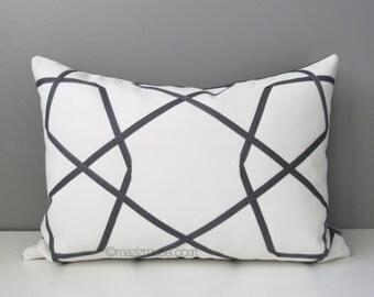 "SALE - Grey Geometric Pillow Cover (14""X20""), Decorative Trellis Throw Pillow Case, Modern White Gray Lattice Sunbrella Cushion Cover"