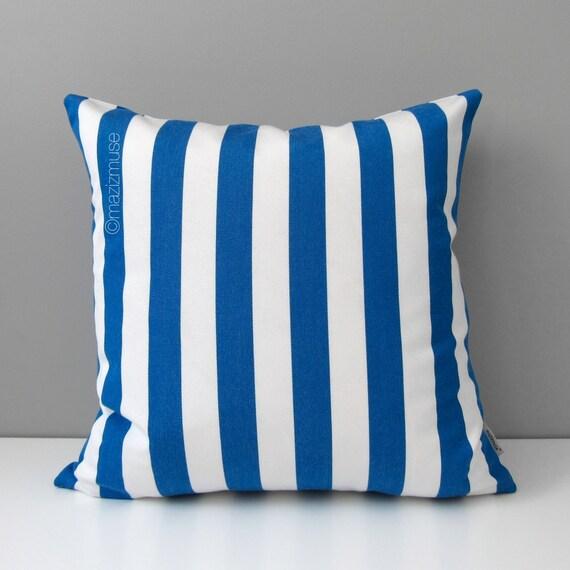 Cobalt Blue & White Pillow Cover, Modern Outdoor Decor, Stripes, Decorative Striped Throw Pillow Case, Sunbrella Cushion Cover, Home Decor