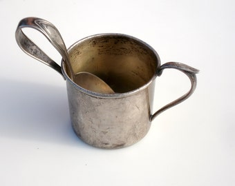 Antique Sterling Silver Child's 1st Cup & Spoon