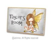 girls wooden door plaque, kids personalized sign, nursery door sign, baby shower gift, Gray Yellow door sign