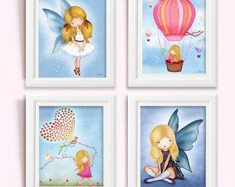 Art Prints for Girls Room or Nursery, Light Blue Nursery Decor, Children's Wall Art, Artwork for the Walls, Baby Nursery Decoration Posters