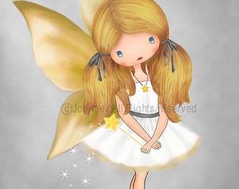Gray Yellow girls room art posters, fairy kids room art, artwork baby room,yellow grey nursery decoration, personalized with hair skin color