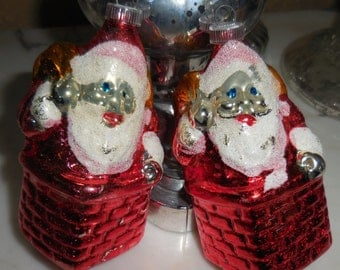 2 Vintage West Germany Santa Claus Mercury Glass Christmas Ornaments Ges Gesch
