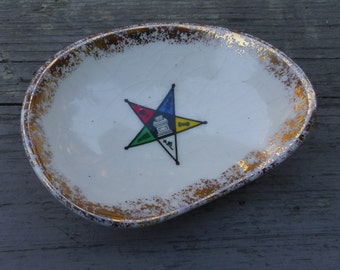 """Trinket or Pin Dish, Order of the Eastern Star  3.5"""" long"""
