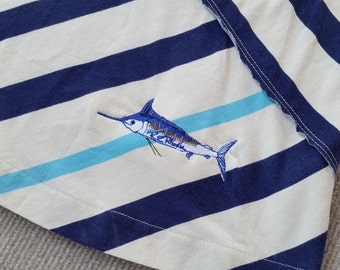 Blue Marlin embroidered Summer striped dress in off white and blues Ladies sportfishing