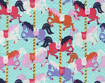MATCHES TULA Baby Carrier Pink and Purple Carousel GLITTER Pony Horses on Aqua Blue Timeless Treasures Novelty Fabric