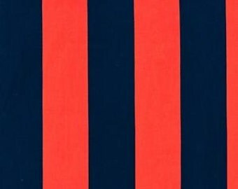 Michael Miller Fabric Two by Two Stripe Stripes 2 Inches Wide Twilight Blue and Clementine Coral