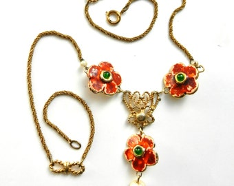 Rare flowers & pearl  50s vintage necklace - Y Necklace swinging - pearls and jelly cabochon -- art.793--