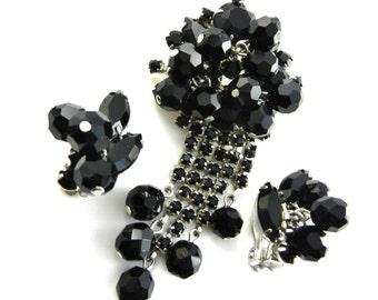 1950s Vintage Jet Black Dangle Earrings & Pin Set - dangle tassel large brooch and super sparkling earrings -1950s vintage - Art.831/3 -