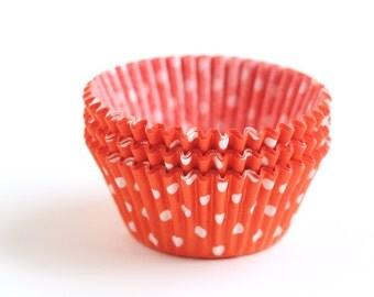 Orange and White Polka Dot Cupcake Liners, Orange Dot Baking Cups, Halloween Cupcake Liners, Halloween Orange Liners (100)