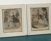 SHIPPING INCLUDED - Pair of French Framed Prints, Lovely Ladies in Period Costume, French Colored Fashion Prints, La Mode Illustree