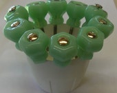 "FREE SHIPPING 10 Glass Knobs Jadeite Jadite Milk Green 1"" Trim Project Toppers Supply"
