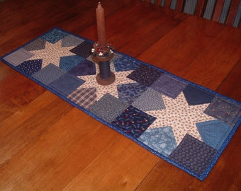 Patriotic Star Quilted Table Runner