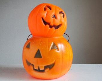 Halloween  Decor, Jack O Lantern Pumpkin Candy Bucket, Small