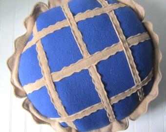 "Big Blueberry Pie Pillow, 16"" Pie Plush"