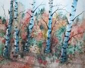 ORIGINAL painting watercolor painting original WATERCOLOR Birch Trees