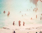 "Beach Photography // Large Oversized Print for Modern Beach House // Beach Scene with Aquamarine Ocean & Soft Pastel Peach  ""Tulum"""