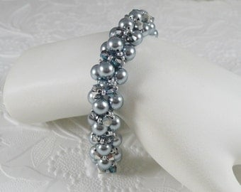 Woven Embellished Silver Gray Pearl Bracelet with Crystals