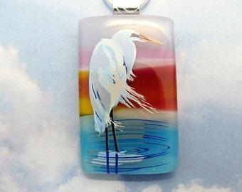 Heron Fused Glass Pendant - White Bird Nature Inspired Water & Sunset Handmade Artisan Jewelry Gift for Her - 35-15