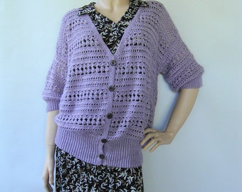 Crochet Cardigan, Cardigans, Crochet Sweater, Women's Cardigan Sweaters, Alpaca Sweater, Lilac Cardigan, Gift for Her, Available in size M/L