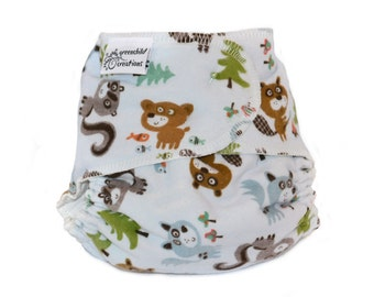 Forest Creatures One Size Fitted Cloth Diaper - Add Snaps, Hook and Loop, or Pins