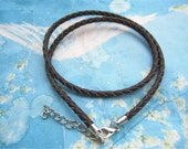 5pcs 12-24 inch for your choose 3mm dark brown braided GENUINE(REAL) leather choker necklace cords with silver lobster clasps and extender