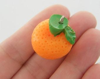 2 Orange charms resin FD255