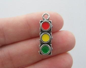 BULK 10 Traffic light charms antique silver tone P129 - SALE 50% OFF