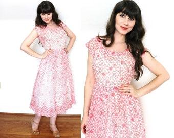 50s Dress / 1950s Geometric Print Pink Sheer Nylon Dress