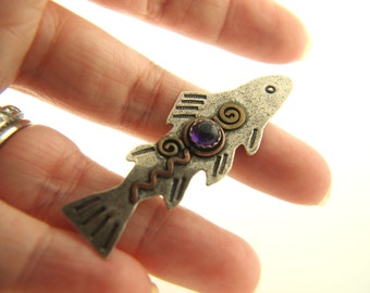 Fish Pendant - Sterling Silver - Vintage