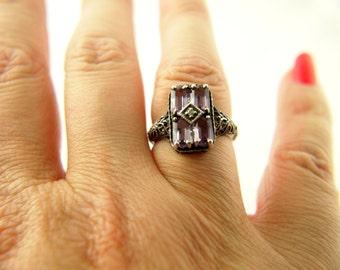 Amethyst Glass Ring - Filigree - Sterling Silver - Vintage
