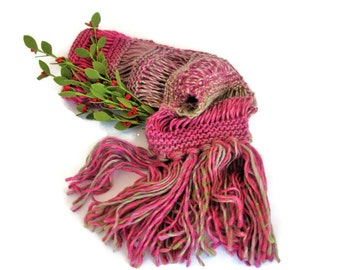Knit Scarf, Pink Scarf, Rose Scarf, Hand Knit Scarf, Women's Scarf, Fashion Scarf, Fiber Art, Pink and Green Scarf,
