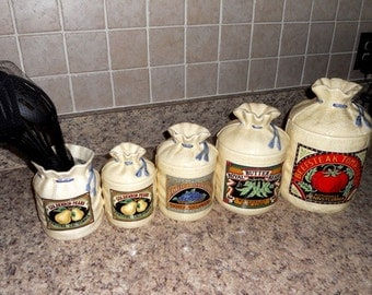 Vintage Country Feedsack Canister Set