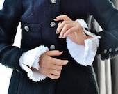 White Ruffled cuffs/Detachable pleated cuffs/White cuffs/Detachable cuffs/Ruffle detail cuffs/ rusteam