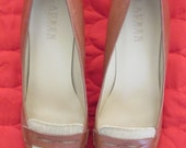 ON SALE! Vintage Ralph Lauren Brown and Cream Loafer Style Heels