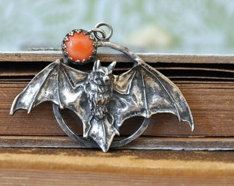 sterling silver bat necklace, natural pink coral, NIGHT CREATURE NECKLACE, vampire bat, antiqued silver bat necklace, red moonlight,