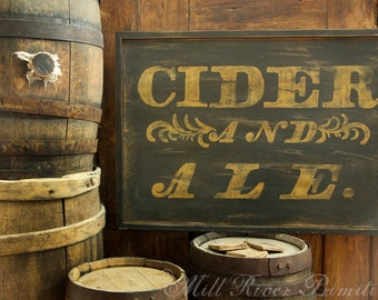 Reproduction Antique CIDER and ALE Wood Sign