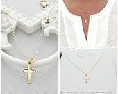 Dainty 14K Gold Yellow Gold Cross Necklace, Tiny Cross Necklace, layered necklace, Dainty gold cross necklace, layering necklace