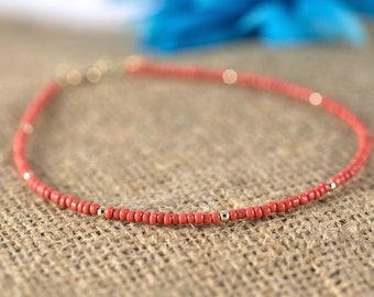 Coral and Gold Seed Bead Anklet, ankle bracelet, red, beaded bracelet