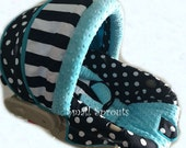 Black Stripe/Polka Dot/Aqua Blue Minky Dot Infant Car Seat Cover 5 piece set