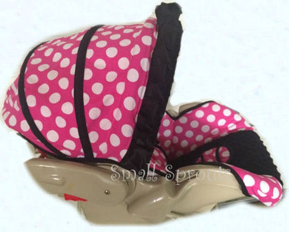 large pink polka dot black minky dot infant car seat cover 5. Black Bedroom Furniture Sets. Home Design Ideas