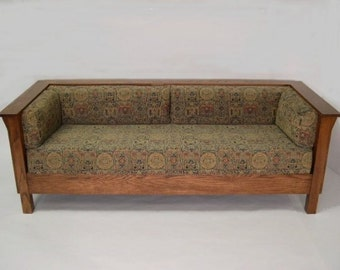Mission Arts and Crafts Stickley Style Prairie Panel Settle Sofa