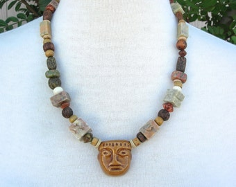 Olmec Stone Head Pendant |Olmec Head Necklace
