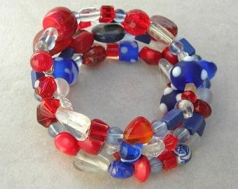Perfect Patriotic Red*White*Blue Memory Wire Bracelet, Glass, Lapis, Coral, Free Size, Great for July 4th, Memorial Day, by SandraDesigns