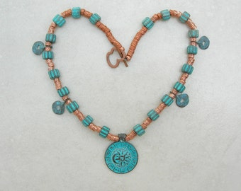 Greek Zodiac, Patinaed Copper Pendant & 4 Round Charms, Copper-Plated Metal and Ceramic Beads, Necklace by SandraDesigns