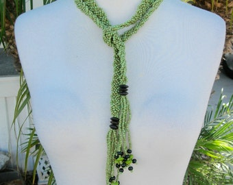 REDUCED Long Braided 6-Strand Rope/Lariat Necklace/Belt, Tiny Green Glass Seed Beads & Wood Beads, Vintage Necklace, SandraDesigns