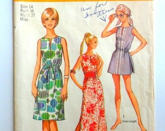 1970s Sleeveless dress pattern, tennis dress, beach cover up, shorts, Simplicity 9359, misses size 14, bust 36 vintage Jiffy sewing pattern